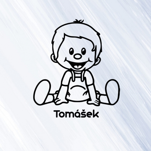 Kluk 6 - vinylová samolepka na auto - dítě v autě