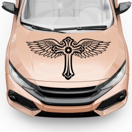 Andělský kříž - na kapotu - vinylová samolepka na auto