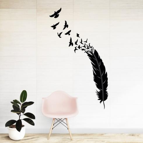 Peříčko s ptáky - vinylová samolepka na zeď