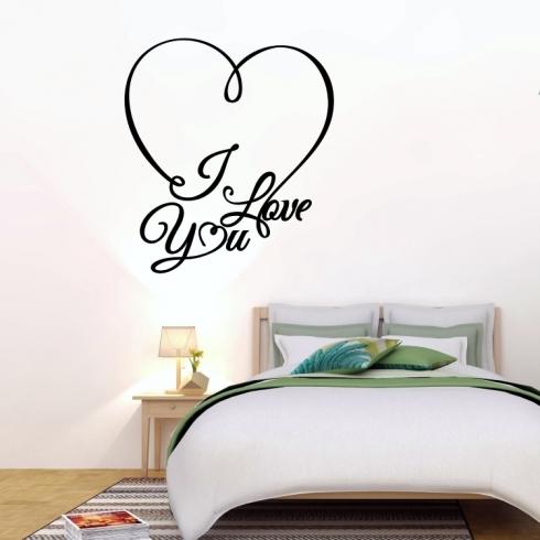 Srdce I Love You - vinylová samolepka na zeď