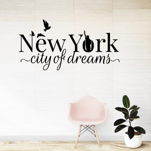 New York city of dreams - vinylová samolepka na zeď