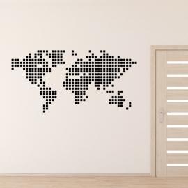 Mapa světa čtverečky - vinylová samolepka na zeď