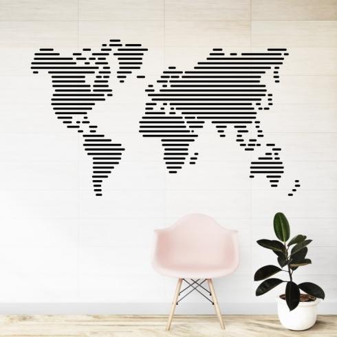 Mapa světa čáry - vinylová samolepka na zeď