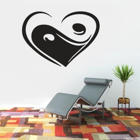 Srdce Jing Jang - vinylová samolepka na zeď
