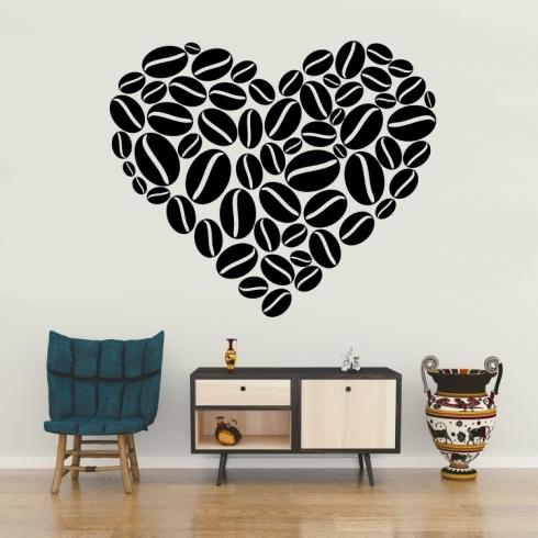 Srdce zrnka kávy - vinylová samolepka na zeď