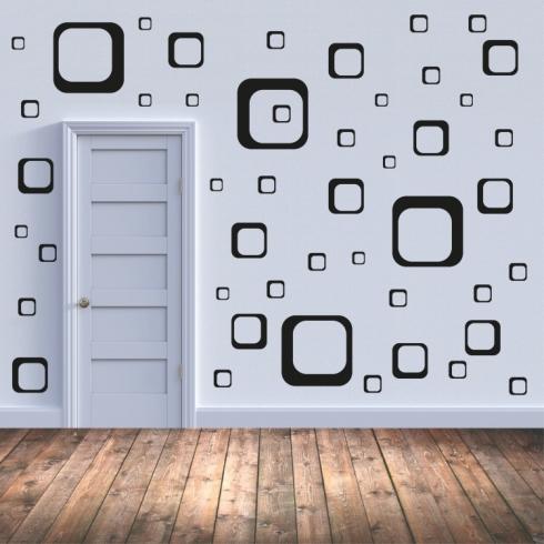 Sada 47 čtverců - vinylová samolepka na zeď