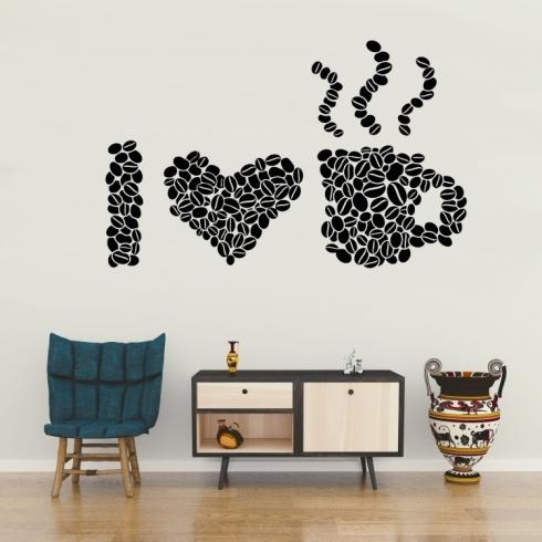 Milujeme kávu - vinylová samolepka na zeď
