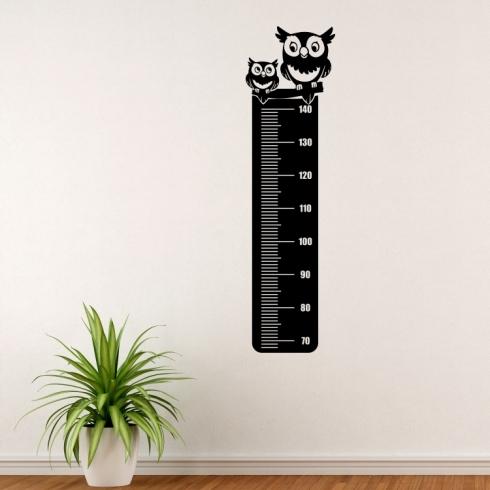 Sovy dětský nástěnný metr - vinylová samolepka na zeď