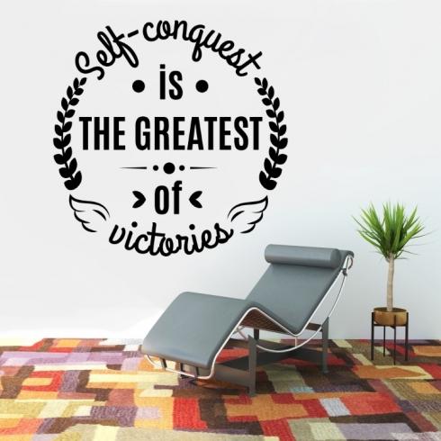 Self conquest is the greatest of victories - vinylová samolepka na zeď