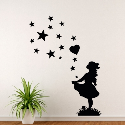 Dívka tanečnice s hvězdami - vinylová samolepka na zeď