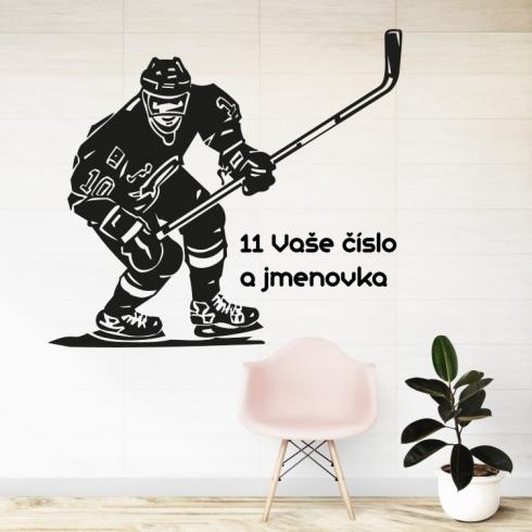 Hokejista s vaším textem - vinylová samolepka na zeď