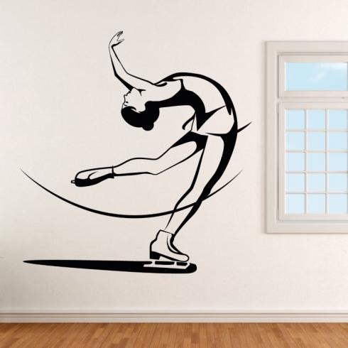 Dívka krasobruslařka - vinylová samolepka na zeď
