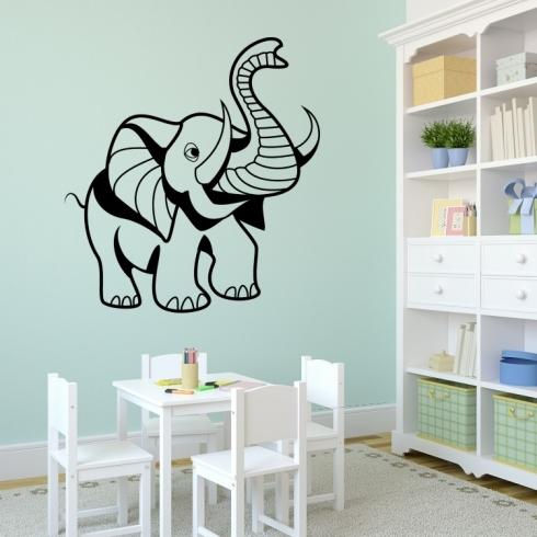 Slon pro štěstí - vinylová samolepka na zeď