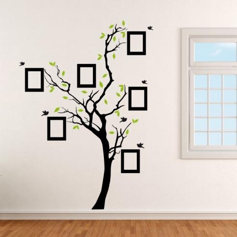 Strom s rámečky na fotografie listím a ptáčky - vinylová samolepka na zeď