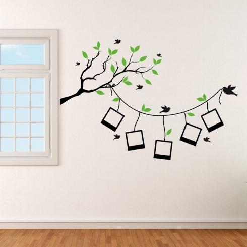 Větvička s rámečky na fotografie - vinylová samolepka na zeď