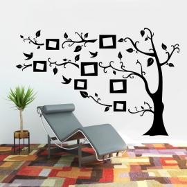 Strom s rámečky na fotografie - vinylová samolepka na zeď