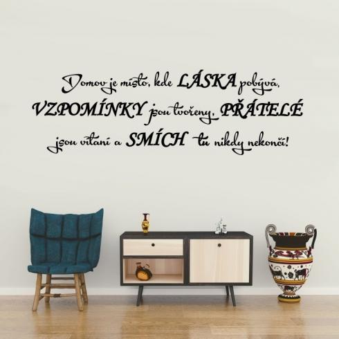 Domov je místo kde láska pobývá - vinylová samolepka na zeď