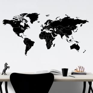 Mapa světa jednotlivé státy - vinylová samolepka na zeď