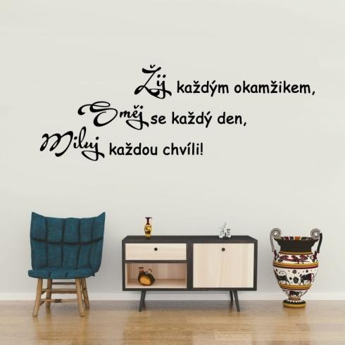Směj miluj žij - vinylová samolepka na zeď