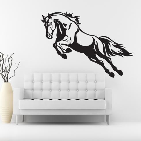 Kůň ve skoku - vinylová samolepka na zeď