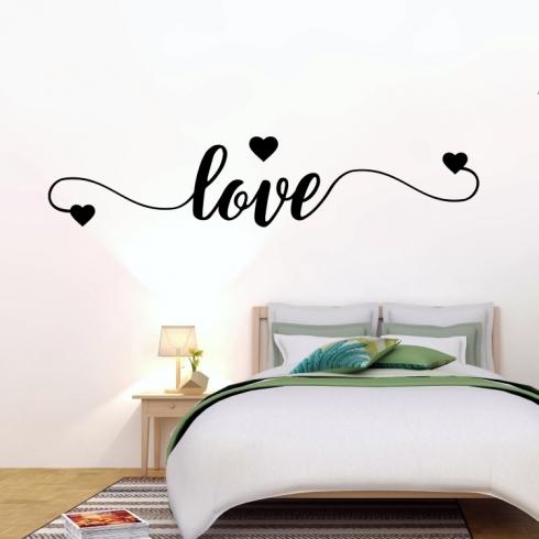 Love - láska a srdce - vinylová samolepka na zeď