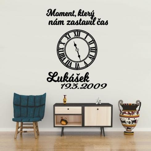 Životní moment (čas lepíte dle potřeby) - vinylová samolepka na zeď