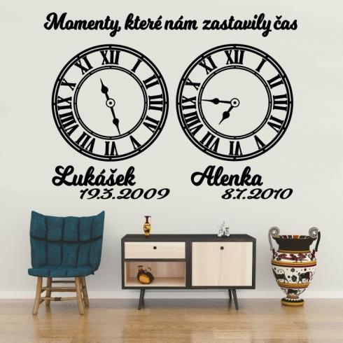 Životní moment dva (čas lepíte dle potřeby) - vinylová samolepka na zeď