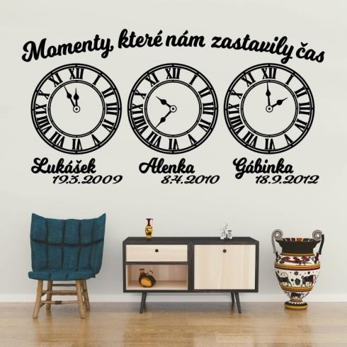 Životní moment tři (čas lepíte dle potřeby) - vinylová samolepka na zeď