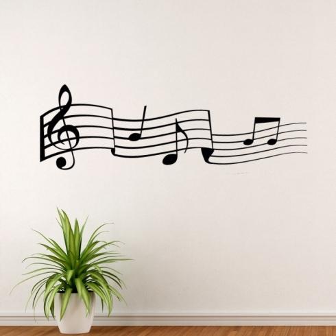 Tančící noty - vinylová samolepka na zeď