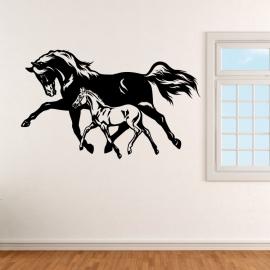 Kůň - hříbě a kobyla - vinylová samolepka na zeď