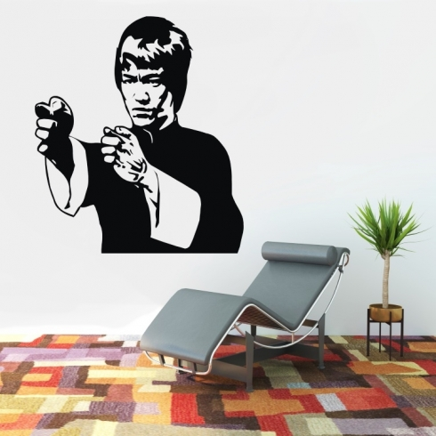 Bruce Lee silueta - vinylová samolepka na zeď