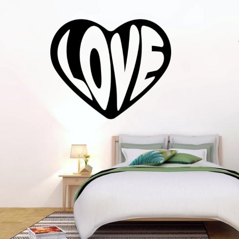 3D Srdce love - vinylová samolepka na zeď