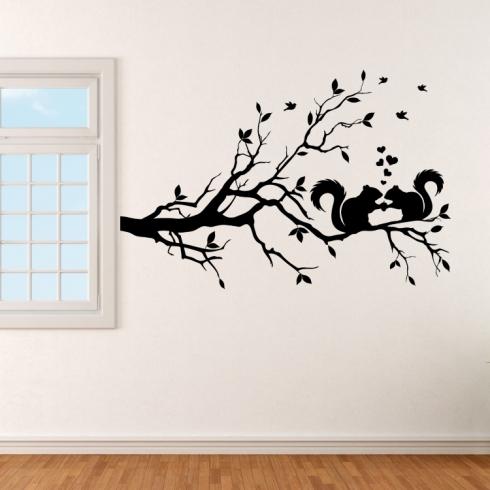 Veverky na větvi - vinylová samolepka na zeď