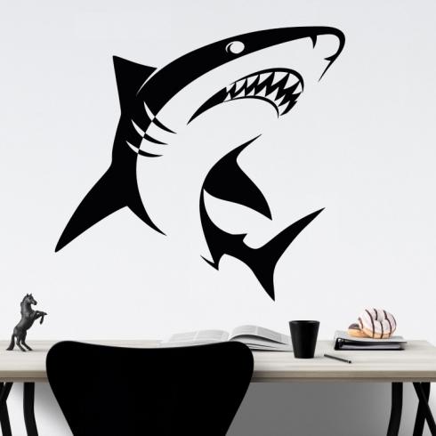 Žralok bílý - vinylová samolepka na zeď