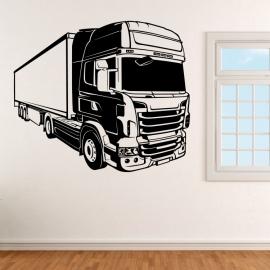 Kamion s přívěsem - vinylová samolepka na zeď