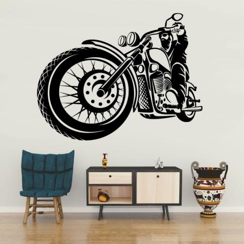 Motorka americký rider - vinylová samolepka na zeď