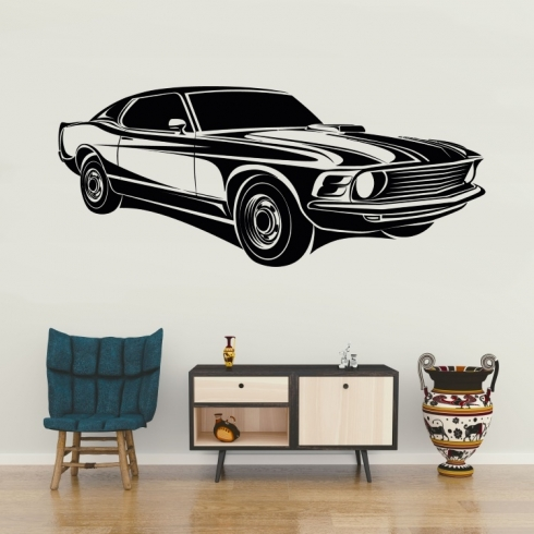 Americký auto veterán 70 léta 2 - vinylová samolepka na zeď