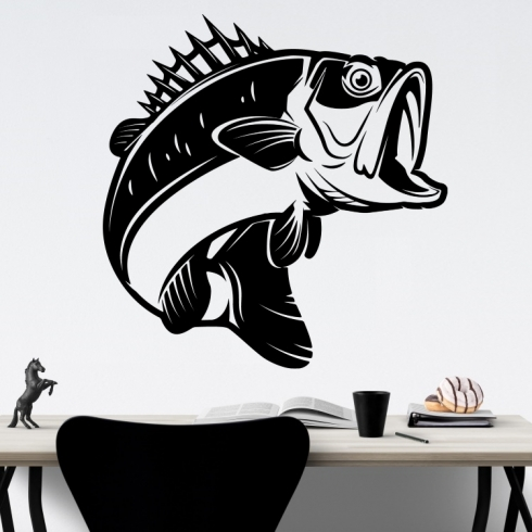 Okoun trofej rybáře - vinylová samolepka na zeď
