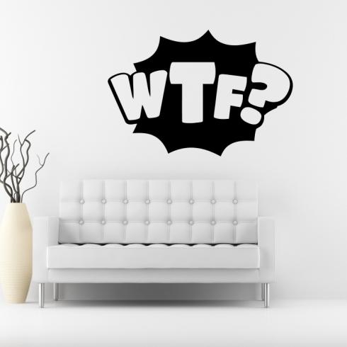 WTF nápis - vinylová samolepka na zeď