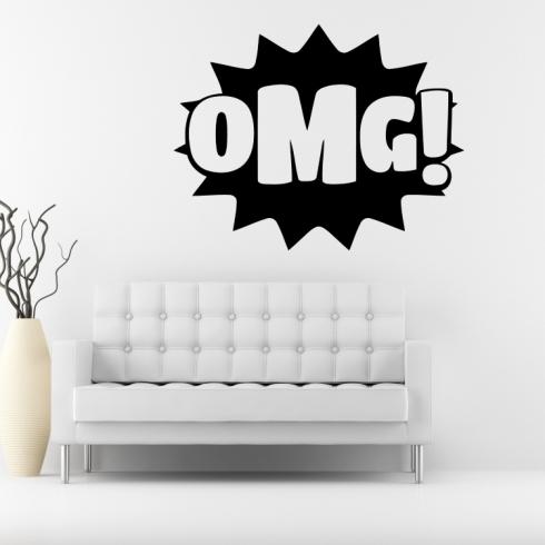 OMG nápis - vinylová samolepka na zeď