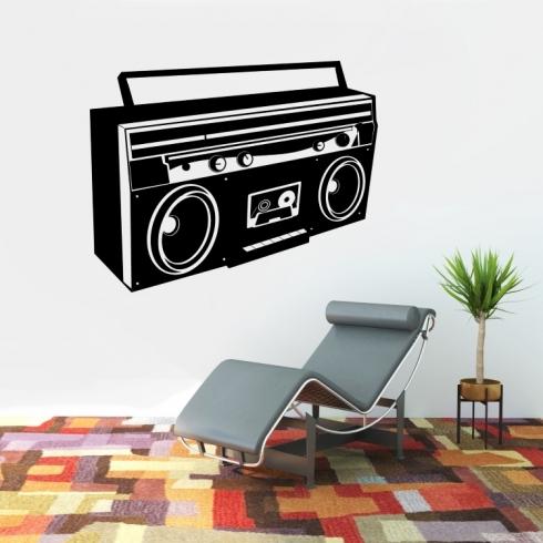 Retro kazeťák - vinylová samolepka na zeď