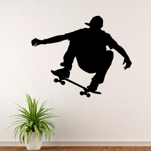 Skateboardista silueta - vinylová samolepka na zeď
