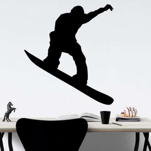 Snowboardista silueta - vinylová samolepka na zeď