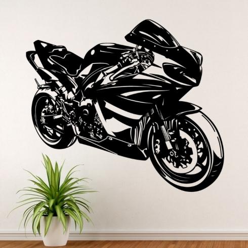 Silniční motorka GP - vinylová samolepka na zeď