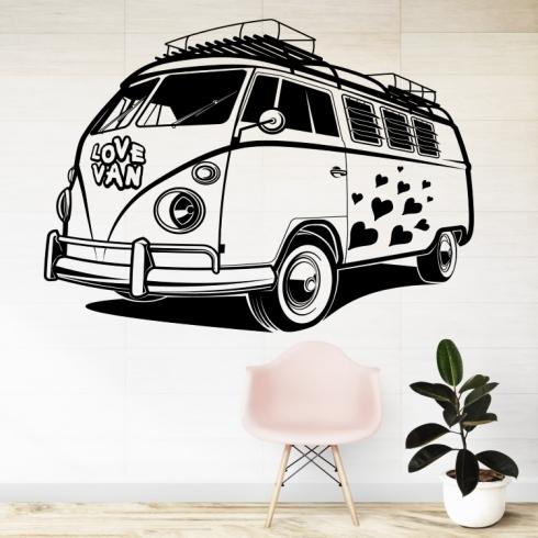 Zamilovaný Volkswagen van - vinylová samolepka na zeď
