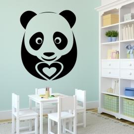 Medvídek Panda se srdcem - vinylová samolepka na zeď