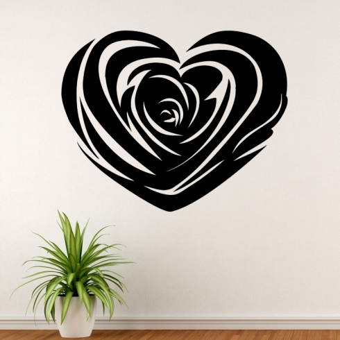 Srdce z růže - vinylová samolepka na zeď