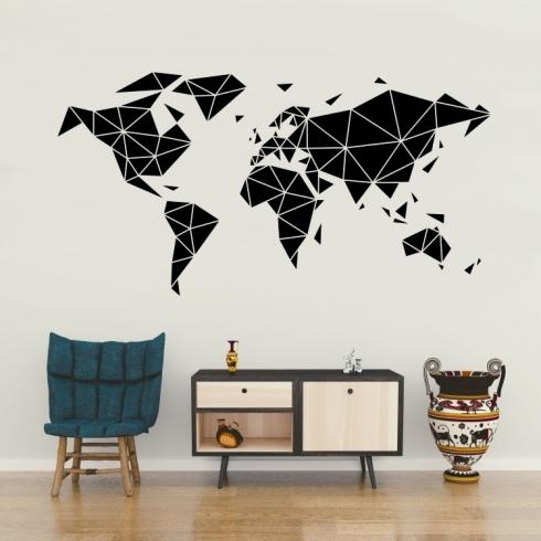 Mapa světa z trojúhelníků - vinylová samolepka na zeď