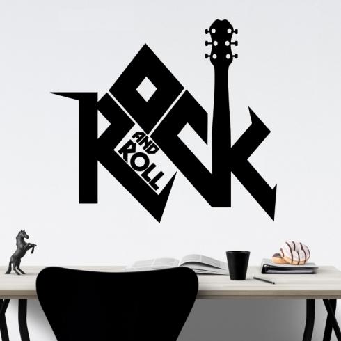 Rock and Roll nápis - vinylová samolepka na zeď