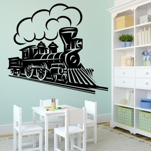 Lokomotiva a vlak - vinylová samolepka na zeď